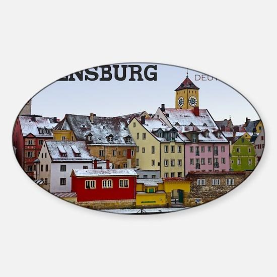 Regensburg - Along the Waterfront Sticker (Oval)