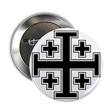 """Cross Potent - Jerusalem - Black 2 2.25"""" Button"""