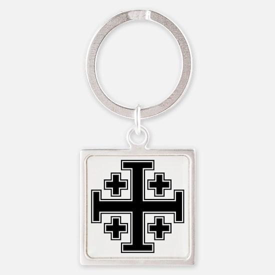 Cross Potent - Jerusalem - Black 2 Square Keychain