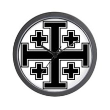 Cross Potent - Jerusalem - Black 2 Wall Clock