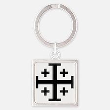 Cross Potent - Jerusalem - Black Square Keychain