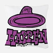 condom_happen_right_purple Woven Throw Pillow