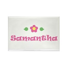 "Pink Daisy - ""Samantha"" Rectangle Magnet"