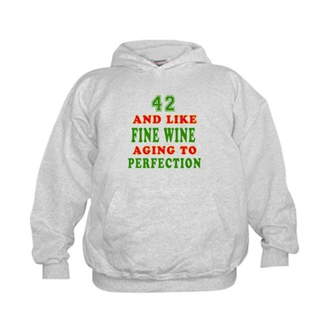 Funny 42 And Like Fine Wine Birthday Kids Hoodie