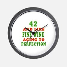 Funny 42 And Like Fine Wine Birthday Wall Clock