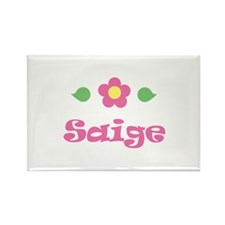 """Pink Daisy - """"Saige"""" Rectangle Magnet"""