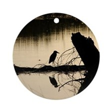 bird in lake 1 Round Ornament