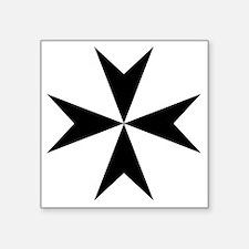 """Cross of Malta - Black Square Sticker 3"""" x 3"""""""