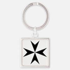 Cross of Malta - Black Square Keychain
