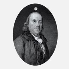 Benjamin Franklin by RW Dodson after Oval Ornament