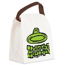 condom_happen_right_green Canvas Lunch Bag