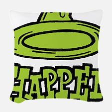 condom_happen_right_green Woven Throw Pillow