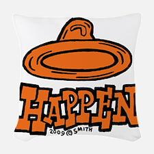condom_happen_right_orange Woven Throw Pillow