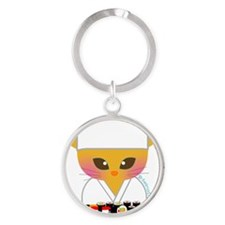 sushi chef cat Round Keychain