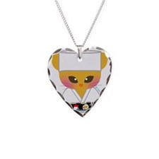 sushi chef cat Necklace Heart Charm