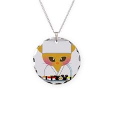 sushi chef cat Necklace Circle Charm