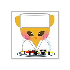 """sushi chef cat Square Sticker 3"""" x 3"""""""