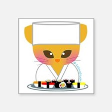 "sushi chef cat Square Sticker 3"" x 3"""