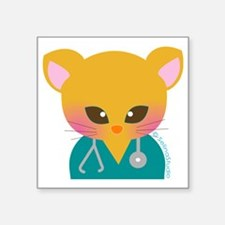 "Nurse Cat Square Sticker 3"" x 3"""