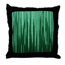 Green Binary Rain Throw Pillow