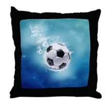 Soccer Water Splash Throw Pillow