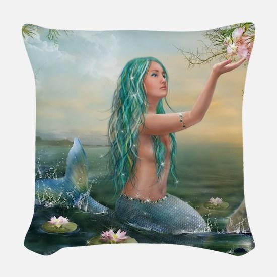 Marine Mermaid Woven Throw Pillow