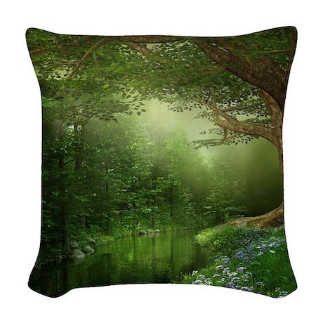 Summer Forest River Woven Throw Pillow