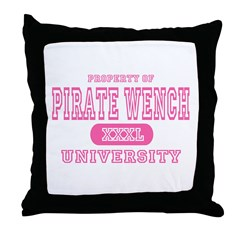 Pirate Wench University Throw Pillow