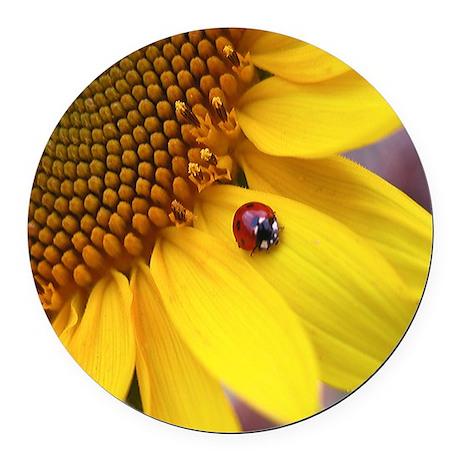 Ladybug on Sunflower Round Car Magnet