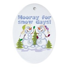 HOORAY for Snow Days! Oval Ornament