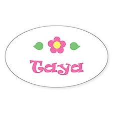 "Pink Daisy - ""Taya"" Oval Decal"