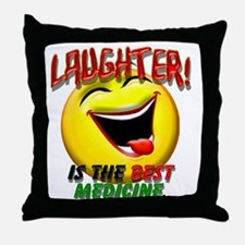 LAUGHTER IS THE BEST MED 1 pract flat Throw Pillow