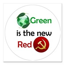 """green new red button Square Car Magnet 3"""" x 3"""""""