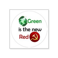 "green new red button Square Sticker 3"" x 3"""