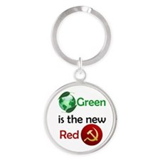 green new red button Round Keychain