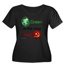 greennew Women's Plus Size Dark Scoop Neck T-Shirt