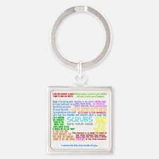 scrubscollagewh Square Keychain