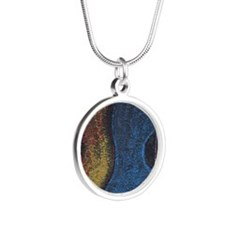 Blue Guitar Print Silver Round Necklace