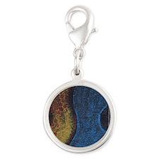 Blue Guitar Print Silver Round Charm
