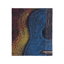 Blue Guitar Print Throw Blanket