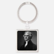 Thomas Jefferson by HB Hall after  Square Keychain
