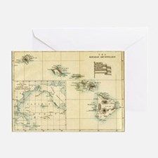Map of Hawaii by London Longman  Co  Greeting Card