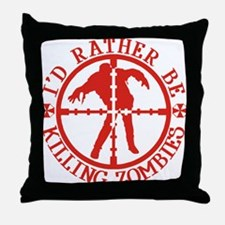 ratherbekillingzombieswhite Throw Pillow