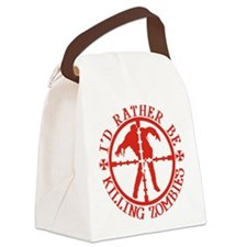 ratherbekillingzombieswhite Canvas Lunch Bag