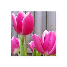 "April Flower Square Sticker 3"" x 3"""