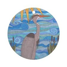Great Blue Heron Round Ornament