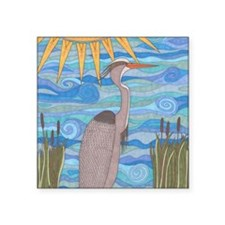 "Great Blue Heron Square Sticker 3"" x 3"""