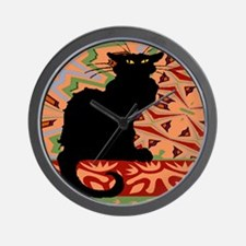 BlackCatAbstractWallPaper2Sq Wall Clock