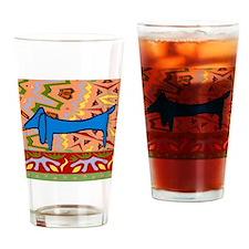 DachshundAbstrSQ Drinking Glass