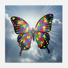 autismbutterfly - sky 6inch Tile Coaster